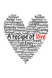 A recipe of love. A heart filled with a lot of love Royalty Free Stock Image