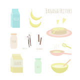 Recipe for making banana fritters. Vector illustration Royalty Free Stock Photography