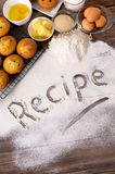 Recipe word with cakes and baking ingredients, vertical Royalty Free Stock Photo