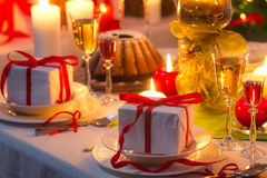 Recipe for nicely decorated Christmas table Stock Photos