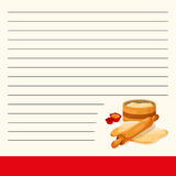 Recipe notebook or Interesting menu design. Sticker yellow note. Royalty Free Stock Images