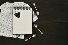 Recipe notebook wooden background copyspace food concept Royalty Free Stock Photography