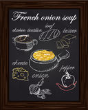 Recipe for onion soup with peppers, cheese, butter, a loaf, onio. N, chicken bouillon drawn with chalk Royalty Free Stock Photo
