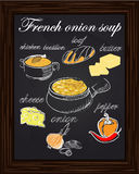 Recipe for onion soup with peppers, cheese, butter, a loaf, onio Royalty Free Stock Photo
