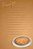 Recipe page. With a tart, brown background Royalty Free Stock Image