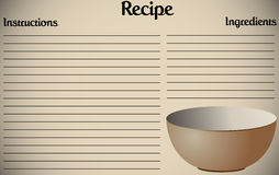 Recipe Page Bowl. A recipe page design with a bowl Stock Photos