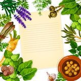 Recipe paper with herb, spice and leaf vegetable. Recipe paper with herbs and spice. Basil, mint and rosemary, garlic and parsley, dill and celery, nutmeg and Royalty Free Stock Photos