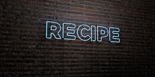 RECIPE -Realistic Neon Sign on Brick Wall background - 3D rendered royalty free stock image Stock Photography