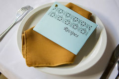 Recipe Setting. A formal place setting with recipe card Stock Images