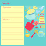 The Recipe Sheet for Cooking. With Food and Kitchen Utensils on the Right Side and Leaf for Notes From the Left Side. Ingredients and Directions Sections on the Royalty Free Stock Images