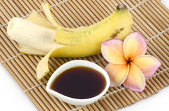 Recipe for skin health mask with banana and honey from nature. Stock Images