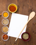 Recipe with spices Royalty Free Stock Images