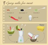 Recipe of Spicy Salts for Meat Royalty Free Stock Photos
