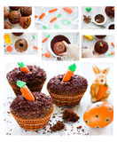 Recipe step by step Easter cupcakes Royalty Free Stock Photography