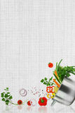 Recipe template. Fresh vegetables on fabric texture Royalty Free Stock Images