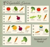 Recipe of Vegetable Juices in flat design Stock Image