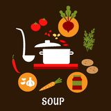 Recipe of vegetarian soup with flat icons Stock Images