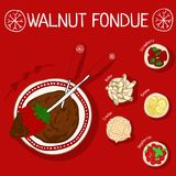 Recipe for walnut fondue with ingredients vector illustration