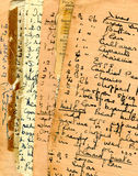 Recipes. Old grunge paper with handwritten recipes Royalty Free Stock Photography