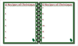 12 Recipes of Christmas Notepad Royalty Free Stock Photography