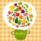 Recipes concept card with fruits and vegetables:  banana, mango, Stock Photos