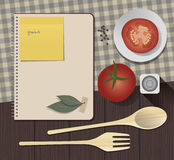 Recipes Cookbook. Cooking Notebook with tomato, sal and laurel Stock Images