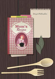 Recipes Cookbook. Cooking Notebook. With wooden fork and spoon Stock Image