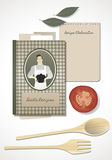 Recipes Cookbook. Cooking Notebook. With wooden and spoon food and ingredients Royalty Free Stock Photos