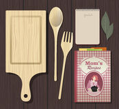 Recipes Cookbook. Notebook, ingredients and wooden objects Stock Photo