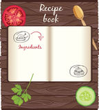 Recipes cookbook template. Open cookbook with vegetables on a wooden background Royalty Free Stock Images
