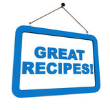 Recipes. Great recipes on a hanging banner in blue over white, concept of cooking Stock Photos