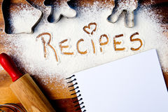 Recipes with note book Royalty Free Stock Images
