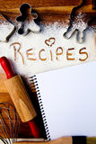 Recipes with note book Stock Photo