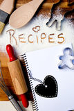 Recipes with note book and heart blackboard Stock Photography
