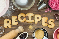 Recipes spelled out in cookies Royalty Free Stock Photo