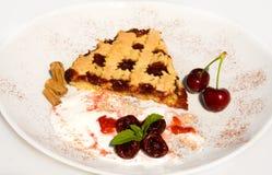 Recipes - Tart With Sour Cherry Jam. Food & Drinks - Slice of tart with sour cherry jam Royalty Free Stock Photos