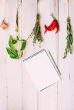 Recipes. Vegetable background, recipes on a wooden table Royalty Free Stock Photography