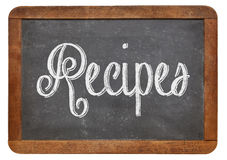Recipes word on blackboard Royalty Free Stock Image
