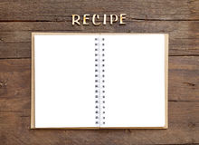 Recipes word with notebook Royalty Free Stock Images