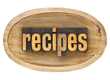 Recipes word in wooden bowl Royalty Free Stock Photos