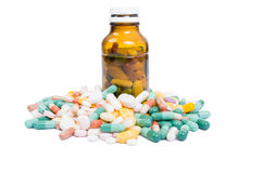 Recipient of medicine and many pills Royalty Free Stock Photos