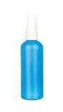 Recipiente azul da garrafa do pulverizador isolado no branco Imagens de Stock Royalty Free