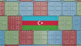 Recipiente com a bandeira de Azerbaijão Os bens azerbaijanos relacionaram a animação 3D conceptual filme