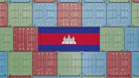Recipiente com a bandeira de Camboja Os bens cambojanos relacionaram a animação 3D conceptual vídeos de arquivo