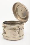 Recipiente da esterilização do vintage no fundo branco Fotografia de Stock Royalty Free