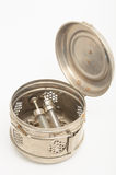 Recipiente da esterilização do vintage no fundo branco Imagem de Stock Royalty Free