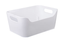 Recipiente de armazenamento plástico branco foto de stock
