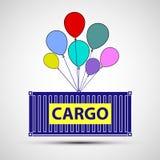 Recipiente de frete do ícone com balões Entrega da carga Vect conservado em estoque ilustração royalty free