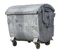 Recipiente de lixo áspero de aço retro Imagens de Stock