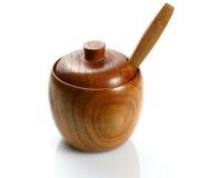 Recipiente de madeira para o açúcar Fotografia de Stock Royalty Free